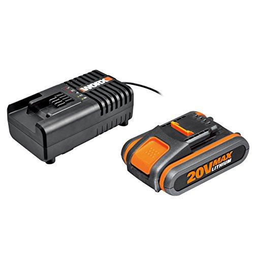 Worx WA3601 Kit 1 Carica Batteria Rapido + 1 Batteria Power Share 20V/2.0Ah Agli Ioni Di Litio