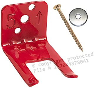 Amerex 546 (1 Wall Hook) Fire Extinguisher Wall, Hook, Mount, Bracket, Hanger for a 2 1/2 to 5 lb. or Extinguishers with Valve Body Slots, Free Screw and Washer Included