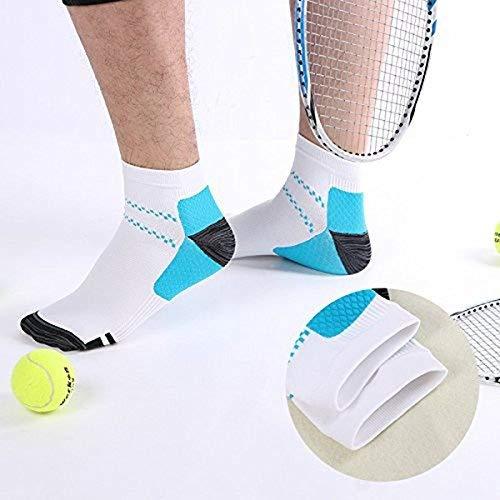Calcetines de comprensión Kroo para la fascitis plantar - Ideales para correr, ir al gimnasio, hacer senderismo, para entrenamientos fitness o para ejercicios, Azul y blanco, S/M