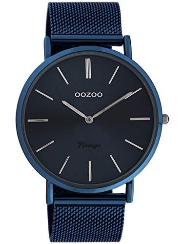 Oozoo Vintage Armbanduhr mit Edelstahl Milanaise Metallband 44 MM Dunkelblau/Dunkelblau C20015