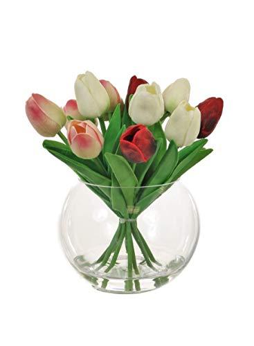 Home Decor 4 U - fiori artificiali tulipani in vaso, pianta artificiale,...