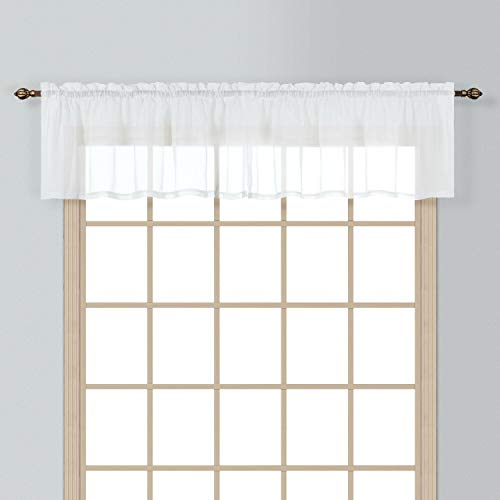 """California Drapes 1PC Sheer Voile Window Treatment Valance for Kitchens, Bathrooms, Basements & More (White, 55"""" X 14"""")"""