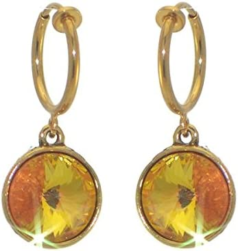 RIVOLI CERCEAU Gold plated Ultra Orange Crystal Clip On Earrings