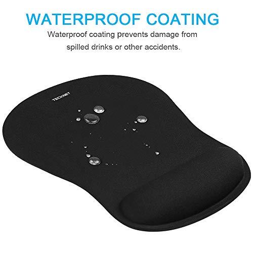 Mauspad mit Gelkissen | TECKNET Wasserdicht Ergonomisches Komfort Mousepad Office Mat Gel mit Handgelenkauflage für Computer und Laptop - 4