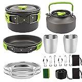 Utensilios De Cocina De Camping Kit Pan Pot Kettle Set Productos De Acero Inoxidable para Cocinar Aire Libre Y Picnic Verde
