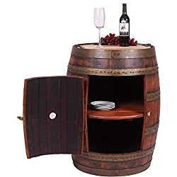 Full Barrel Cabinet on Casters - Made from a Real Wine Barrel (Ocean Finish)