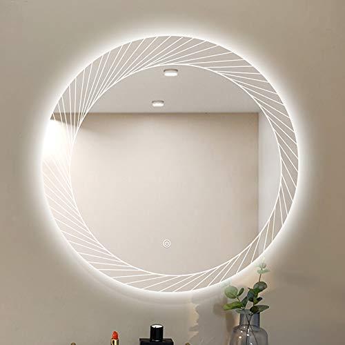 nordisch LED Beleuchtet Badezimmerspiegel, Runden Persönlichkeit Sensorschalter Kosmetikspiegel, Kreativ Make-up Rasierspiegel IP54 wasserdichte Energie, für Badezimmer/Toilette