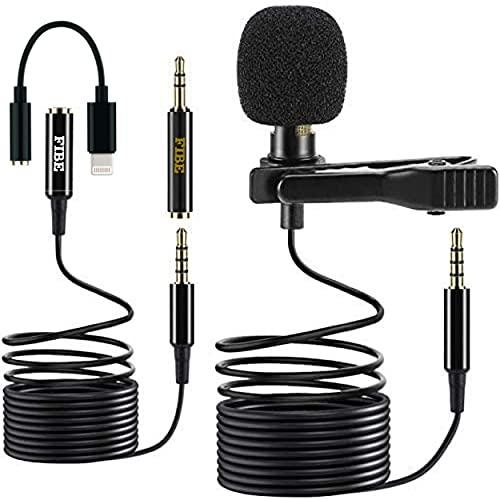 Microfoonverlengkabel, 2 m, met adapter voor iPhone iPad iOS Lightning | Omnidirectionele condensator 1,5 m + 2 m | Mic…