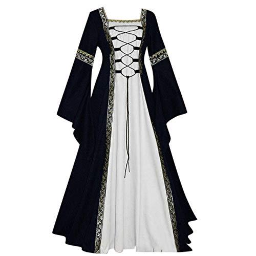 NPRADLA Maxi Kleider Damen Gothic Steampunk Mittelalter Langarm Elegant Mit Kapuze Kleid Bodenlangen Cosplay