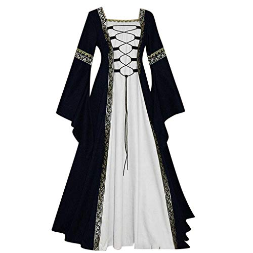 Lazzboy Mittelalterlich Bodenlangen Renaissance Gothic Cosplay Kleid Für Damen Langarm Mittelalter Viktorianischen Königin Kostüm Maxikleid Vintage Bauer Spitze Maxi(Schwarz,XL)