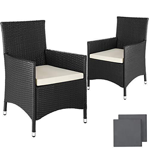 TecTake 2 x Ratán sintético silla de jardín set marco de aluminio con cojines + 2 Set de fundas intercambiables, tornillos de acero inoxidable