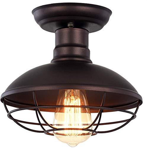Vintage Industrial Mini Metal Cage Ceiling Light - MKLOT E26 Rustic Bronze Pendant Lighting Semi Flush Mounted 8.66