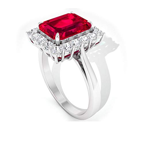 Anillo solitario de 3 quilates con certificado SGL de rubí creado por laboratorio, anillo de oro con forma de octágono, 14K Oro blanco, Ruby Lab creado, Size:EU 70