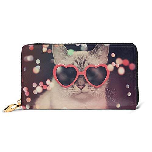 Cartera de piel para mujer, diseño de gato con gafas de sol, de gran capacidad, con ranuras para tarjetas, monedero de mujer con bolsillo con cremallera y compartimento para monedas