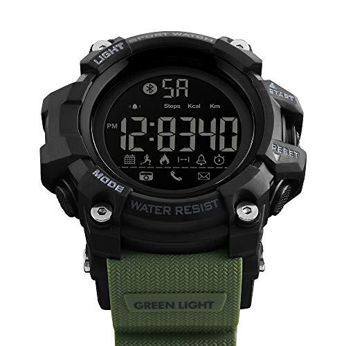 Msxx Bluetooth Smart Watch, Neues Upgrade Outdoor Tactical Adventure Wandersport Multi-Function Step Reminder Watch, Wild Survival Watch,Green
