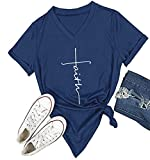 DANVOUY Women's Summer Casual Letters Printed T-Shirt Short Sleeves Graphic V-Neck Tops Blue X-Large