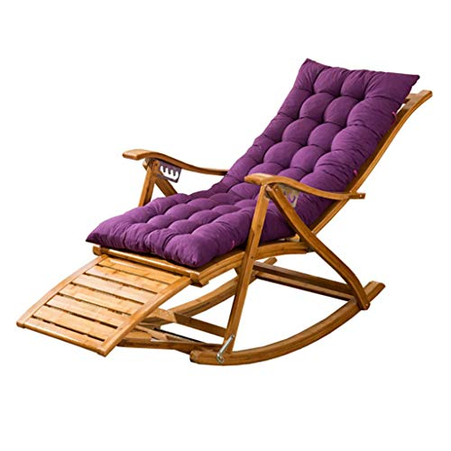 SGSG Reclining Sun Lounger with Cushion - Rocking Chair with Massage Footrest Great Comfort - Max. Load Capacity 200 Kg, Lounger Bed for Garden and Outdoor Camping