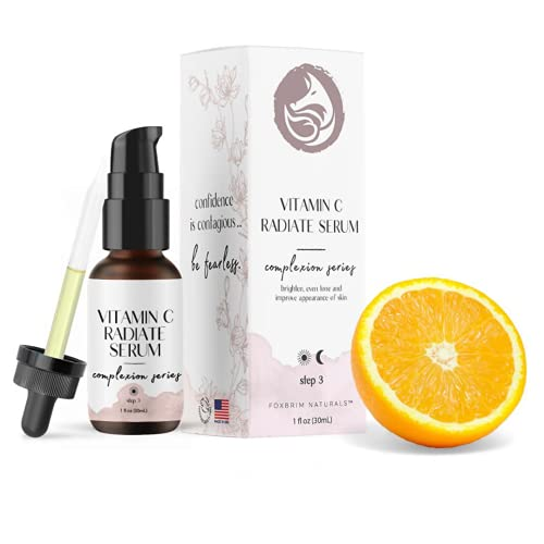 Vitamin C Serum for Face with Hyaluronic Acid, Best Anti Aging Serum on Face, Skin, Eye - Vegan Amino Complex - Natural & Organic - For Acne, Anti Wrinkle, Fine Lines, Fades Age Spots - 1oz by Foxbrim