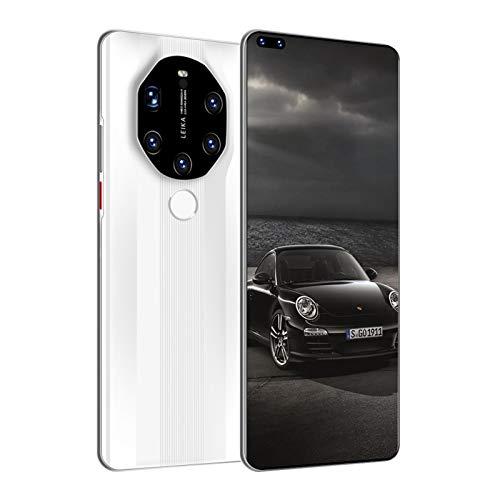 LINGZE Teléfonos móviles con Android 11 SIM Gratis, Cinco cámaras traseras, Ranuras para Tarjetas triples, teléfono Celular con Doble SIM de Pantalla Completa HD de 7.3', 6800mAh, Blanco