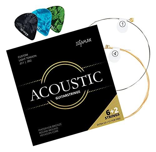 Shaman Gitarrensaiten für Westerngitarre - Premium Stahl Saiten für akustische Gitarre - 6+2 Saiten-Set inklusive 3 Plektren, G-Saite und extra hohe E-Saite