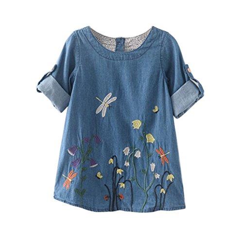 JERFER Kleid Denim Prinzessin Kleinkind Kinder Baby Mädchen Kleider Blume Stickerei