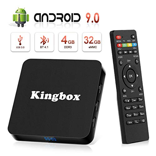 Android TV Box, Android 9.0 TV Box [4GB RAM+32GB ROM] Kingbox Smart TV BOX [2019 Ultima Versione] Supporto Ultra HD/H.265 / 4K / 3D / BT4.1 / USB3.0/2.4 GHz /Più di 3000 App (K4 S)