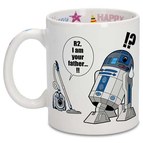 OKIWOKI Taza de cumpleaños con impresión en el asa, en el Interior y en el Exterior - Parodia de Star Wars- R2-D2 (Taza de Primera Calidad - Impresa en Francia - Réf : 382)