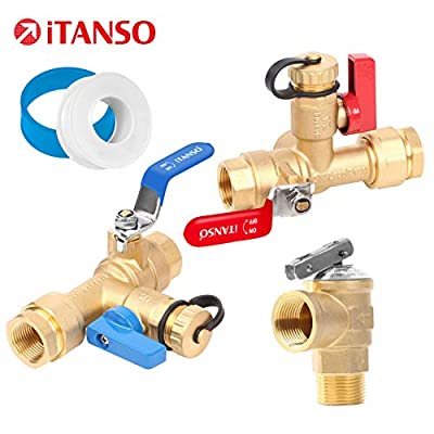 iTANSO 3/4-inch IPS Isolator Tankless Water Heater Service Valve Kit, with Pressure Relief Valve and Clean Brass Construction