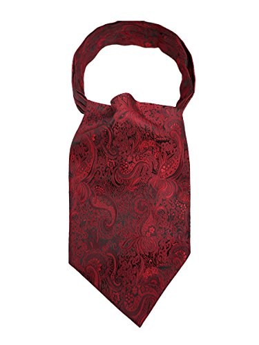 WANYING Herren Krawattenschal Ascotkrawatte Schal Cravat Ties Einfach Schick für Gentleman - Rot Paisley Pattern