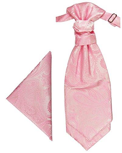 Paul Malone Plastron Set 2tlg Plastron mit Einstecktuch rosa - Hochzeit Krawatte