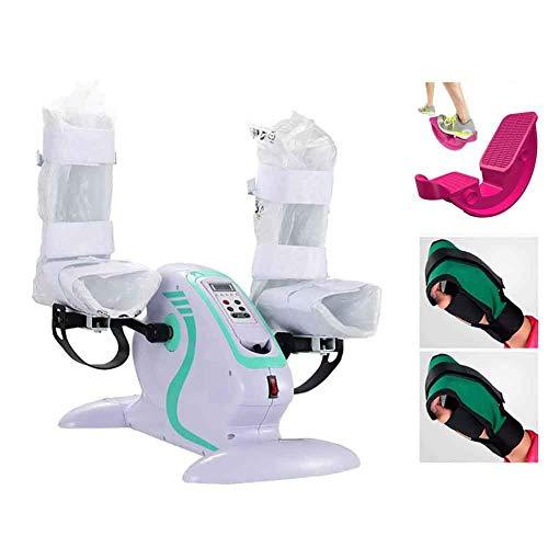 Ejercitador de pedal eléctrico / Bicicleta y balancín de pie para personas mayores con discapacidad, entrenador de rehabilitación de brazos y piernas con control remoto - para la circulación sanguíne