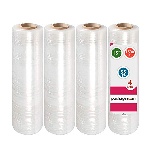 """PackageZoom 4 Rolls 15"""" x 1500 Ft Stretch Wrap Heavy Duty, 55 Gauge High Performance Stretch Film Replaces 80 Gauge Low Films, Clear Hand Stretch Wrap"""