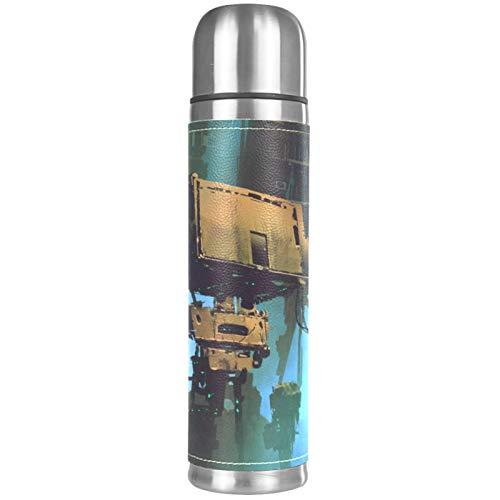Yuzheng Robot tecnológico Termo Inoxidable con Tapa Acero Inoxidable Taza/matraz Vaso con Aislamiento al vacío Vaso de Viaje Mejor Regalo para niños 500ml