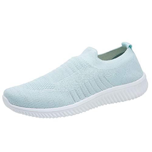 Zapatillas Deportivo Para Mujer Primavera Verano 2019 PAOLIAN Zapatos de Calcetines Running Aire Libre Exterior Escolares Señora Casual Calzado Plano Sin Cordones Talla Grande 35-43 EU (38 EU, Azul-1)