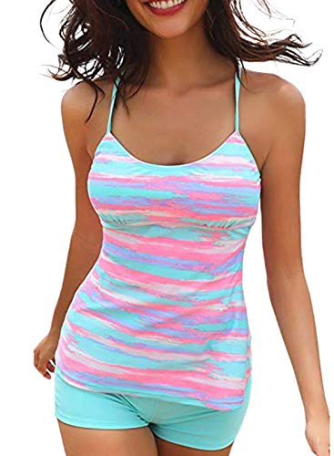 FOBEXISS Women's Tie Dye Racerback 2Pcs Swimsuits Striped Tummy Control Bathing Suits Spaghetti Straps Tankini Sets