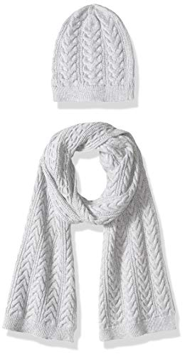 Amazon Essentials Women's Cable Knit Hat and Scarf Set, Light Grey Heather, One Size