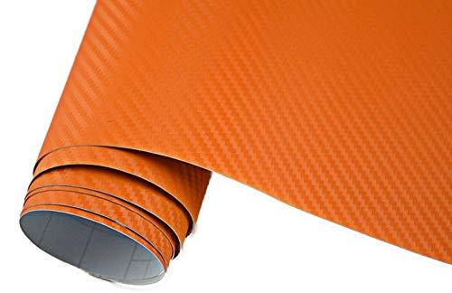 Neoxxim 4,60€/m2 Premium - Auto Folie - 3D Carbon Folie - ORANGE 300 x 150 cm - blasenfrei mit Luftkanälen ca. 0,16mm dick