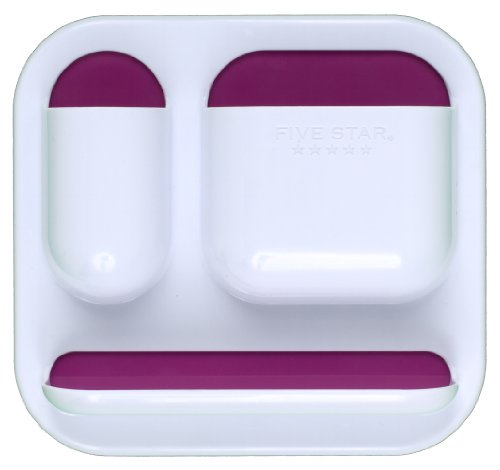 """Five Star Locker Accessories, Tri-Pocket with Dry Erase Surface, 7"""" x 7-1/2"""", White with Berry Pink/Purple Pockets (72626)"""