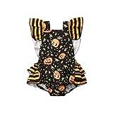 Ropa de bebé Verano recién Nacido niñas bebé Lindo Rayas borlas enterito Mono Ropa (0 – 3 Meses, Calabaza Naranja) Ropa de bebé Halloween Pumpkin Romper 12-18 Meses