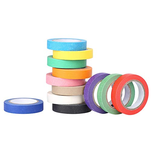 Baijixin Colored Masking Tape - 12 Colors Masking Tape Painters Tape Art & Crafts DIY Supplies - Decorative Paper Tape for Kids Teachers School & Artists Labeling, Drafting, Scrapbooking (12mm x10m)