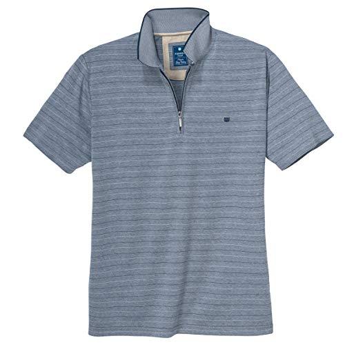 Redmond 'Wash & Wear' Polo Geringelt blau Melange XXL, XL Größe:3XL