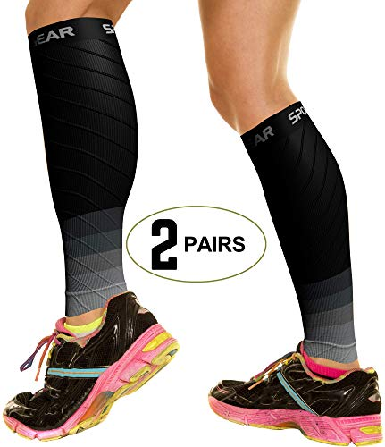 2 PAIRS Calf Compression Sleeve for Men & Women, Best Footless Socks for Shin Splints & Leg Cramps, Calves Circulation Remedy, Support Stockings, Running, Basketball Lycra Tights - BLK & GREY S/M/L