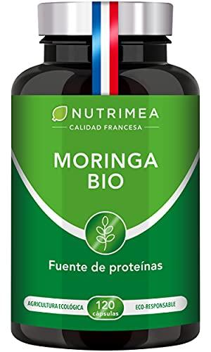 Moringa Oleifera Bio 120 Cápsulas | Superfood Antioxidante Natural Sistema Inmunológico Energía Proteina Vegetal | 400 mg Polvo de Moringa Apto para Veganos | Fabricado en Francia