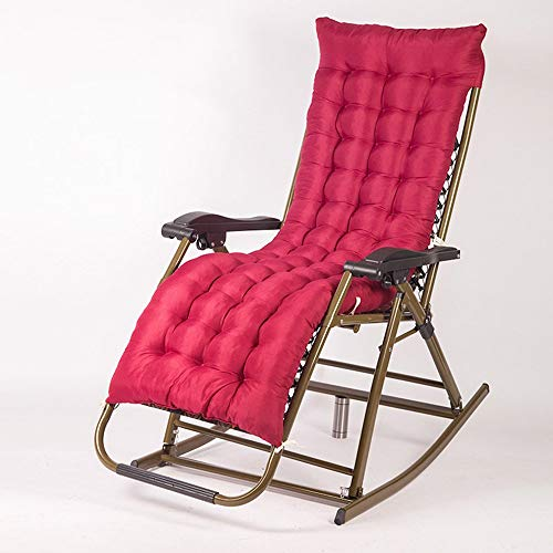 YLCJ schommelstoel Reclining fauteuils Lunch break Casual Oude stoel Schommelstoel Balkon Chaise longue Vouwstoel voor volwassenen Vouwen (Kleur: rood + paarse jacquard stoel) Rode Jacquard stoel+rood