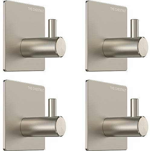 The Chestnut Wall Hooks for Hanging Towel - Set of 4 - Adhesive Hooks for Bathrooms, Kitchen, Home, Office -Heavy-Duty Sticky Seamless Hanging Wall Hangers Without Nails