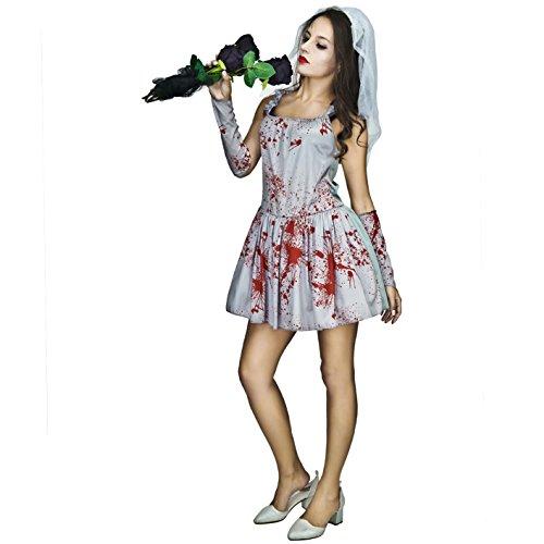 SEA HARE Disfraz de Novia sangrienta Zombie Halloween Zombie para Mujer (L)