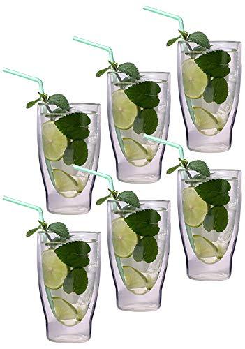 6x 370ml XXL verres à cocktail à double paroi / verres à long drink / verres à thé glacé / verres à jus et à eau