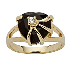 14K Yellow Gold Plated Natural Black Onyx & Round Cubic Ring