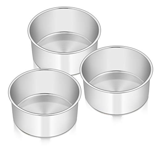Cake Pans Set of 3, 6 x 3 Inch E-far Stainless Steel Round Cake Baking Pans, Deep Metal Cake Tins for Small Tier Layer Cake Wedding Birthday, Non-toxic & Dishwasher Safe, Mirror Finish & Straight Side
