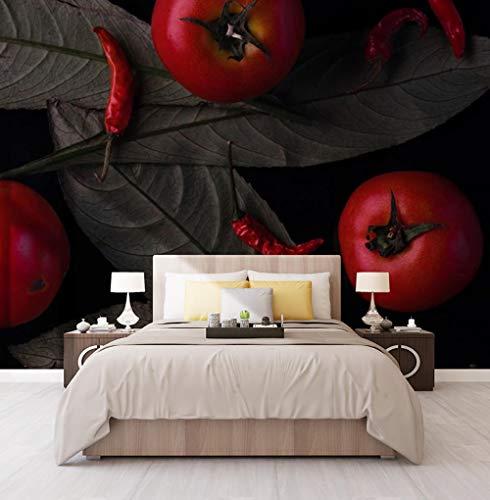 Mural 3D personalizado Pared Vintage Vegetal Fruta Tomate Pimienta Pintura mural Restaurante Cocina Foto Fondo - 500x300 cm / 196.8X118.1 pulgadas